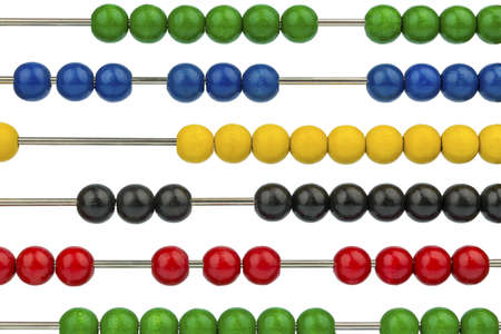 mathematically: abacus with colored beads, symbol for finance, costing and accounting