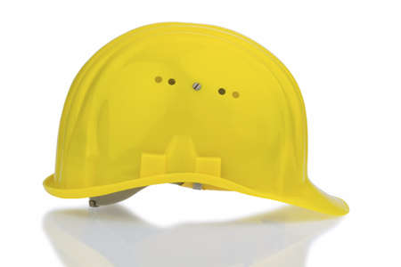 yellow industrial safety helmet, icon photo for work, labor protection and accident prevention photo