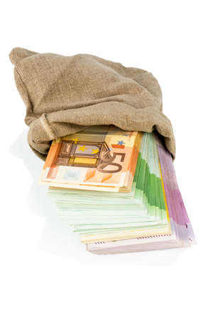 bills in a bag, icon for savings, black money, bribery and corruption Stock Photo - 19088942
