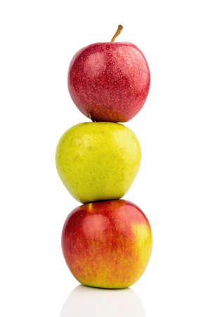 free weight: several apples on white background  symbolic for diet and healthy, vitamin-rich diet