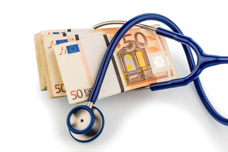 monetary: stethoscope and euro banknotes, symbolic for monetary union, stability and risks for the euro