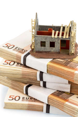 structural work on euro banknotes, symbolic for home purchase, financing, building society Stock Photo - 19089191