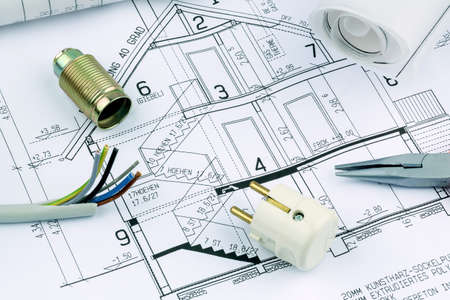 familiy: an architect s blueprint for the construction of a new residential house  symbolic photo for funding and planning of a new home