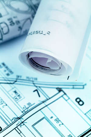 an architect s blueprint for the construction eiones new house  symbolic photo for funding and planning of a new home  photo