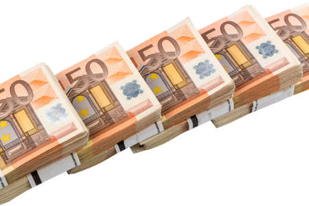 expenditure: stack of many fifty euro bills  symbolic photo for money, wealth, income and expenditure Stock Photo