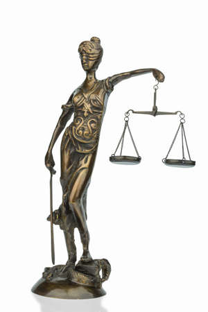 derecho romano: escultura de Justitia Foto de archivo