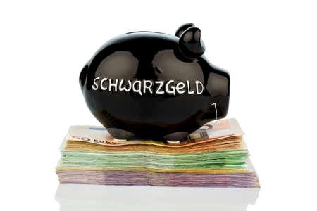 delito: banco guarro negro en billetes de banco, foto simbólica de dinero negro, la evasión fiscal y el blanqueo de dinero Foto de archivo