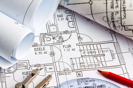 architect plans: blueprint for a house  drawings and plans of an architect