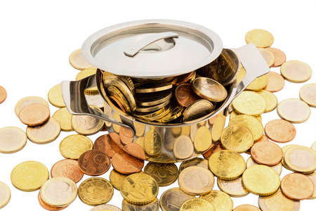 subsidize: a cooking pot is filled with euro coins