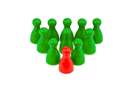 team spirit: red and green pawns  manager and team leader