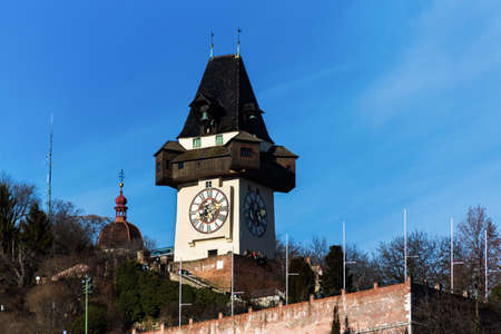 the clock tower is the landmark of the city of graz  capital of styria in austria