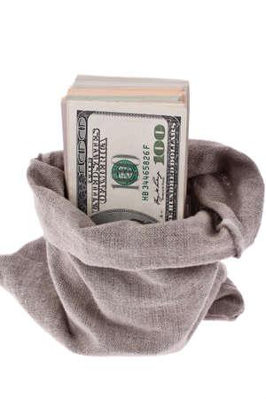 tomar prestado: muchos billetes de d�lares en una bolsa