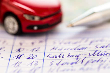 mileage: log book for a car  for commuters and tax office