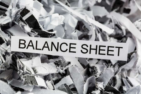 budgets: shredded paper tagged with balance sheet, symbol photo for data destruction, budgets and accounting