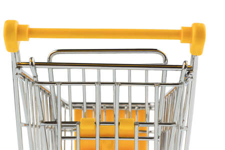 grocers: an empty shopping cart on white background  symbolic photo for shopping