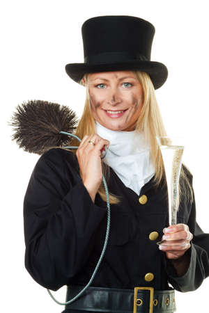 chimney sweep: woman as a chimney sweep  lucky new year s eve and new year
