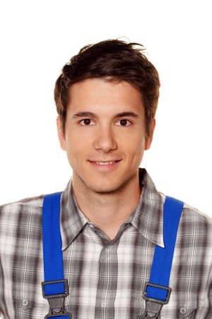 hobbyist: young craftsmen - plumber - construction worker in front of white background