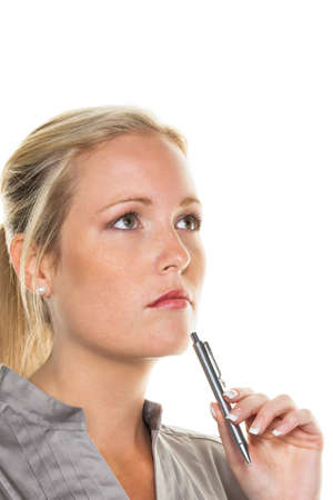 bad planning: a pensive young woman with a pen  entrepreneurship and business idea Stock Photo