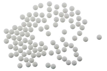 painkillers: white tablets, symbolic photo for medicine, remedies and painkillers Stock Photo