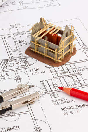immobilien: blueprint for a house  drawings and plans of an architect