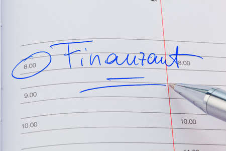 auditors: a date is entered in a calendar  finance office