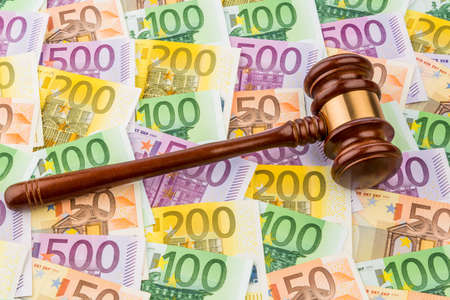 judges gavel and euro banknotes  symbol photo for costs in court of law and auctions Stock Photo - 19987646