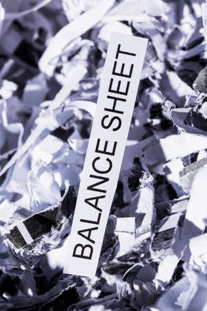 accounted for: shredded paper tagged with balance sheet, symbol photo for data destruction, budgets and accounting