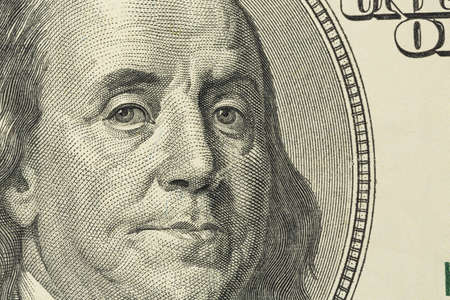 benjamin franklin: one hundred dollars bill with a portrait of benjamin franklin