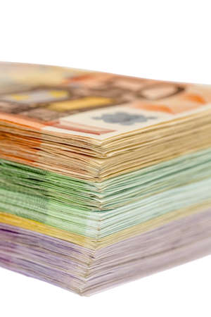 euro bill: many different euro bills  photo icon for wealth and investment Stock Photo