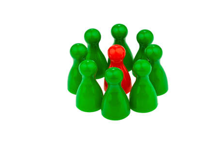 quota: red and green pawns  different team  quota for women in the workplace