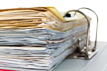 filing documents: a file folder with documents and documents  retention of contracts  Stock Photo