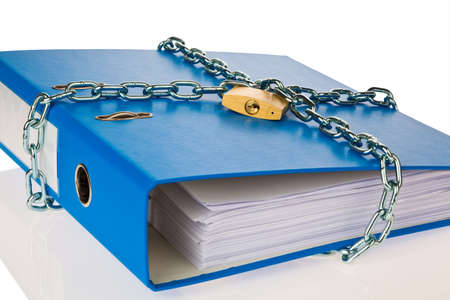 insider information: a file folder with chain and padlock closed  privacy and data security