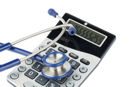 medical expenses: stethoscope and calculator, photo icon for billing and medical expenses Stock Photo