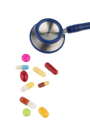 colorful pills and stethoscope, symbol photo for diagnostics, heart disease and interactions Stock Photo - 19986927