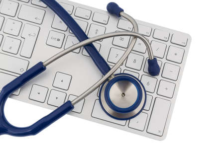 pracitioner: stethoscope and a computer keyboard, symbolic photo for diagnosis and event management