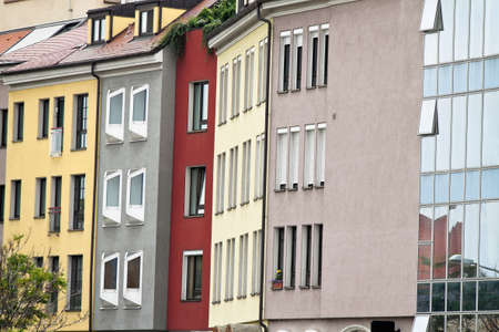 renovate old building facade: bratislava in the slovak republic to the european union  renovated houses Stock Photo