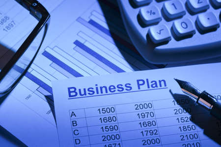 reestablishment: the business plan for a company or business establishment  planning of a young entrepreneur  Stock Photo