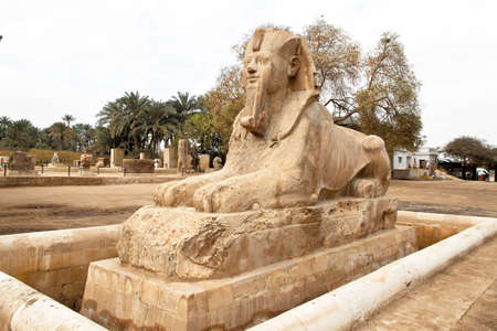 immobilien: the alabaster sphinx in memphis, egypt Stock Photo