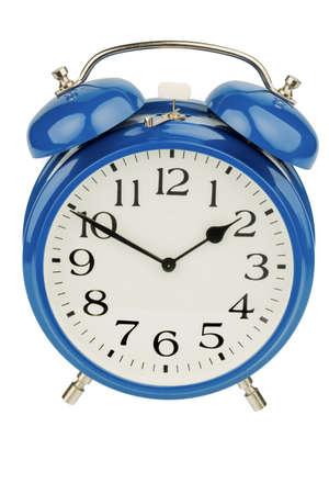 arouse: a blue alarm clock on a white background  a wake white dial Stock Photo