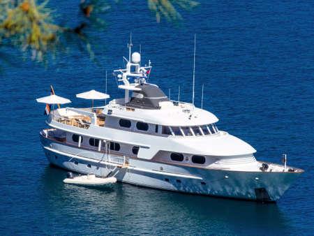 holydays: motor yacht on the sea