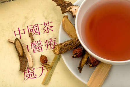 traditional medicine: ingredients for a tea in traditional chinese medicine