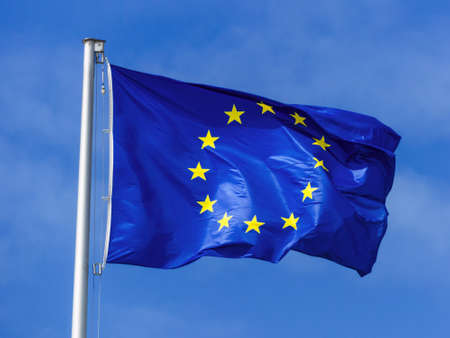 european union: the european union flag blowing in the wind