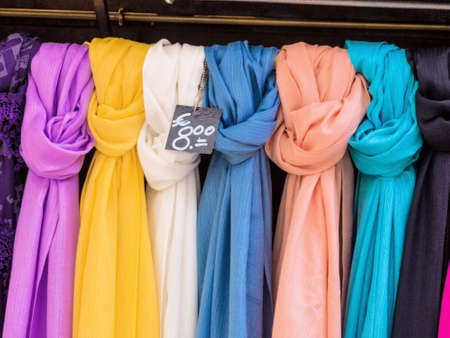 scarves: selection of scarves Stock Photo