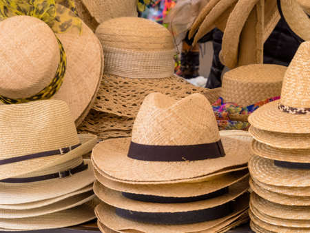 selection of straw hats Stock Photo - 20771479
