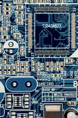 digitization: close-up of a circuit board of a computer Stock Photo