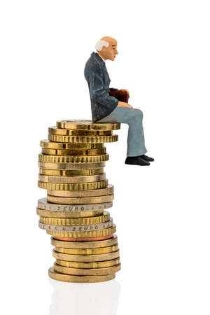 a pensioner sitting on a coins photo