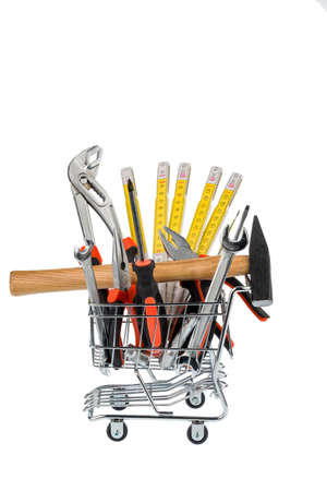 different tools of a craftsman lie side by side on white background Stock Photo - 20771678