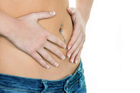 woman hands on stomach Stock Photo - 20785940
