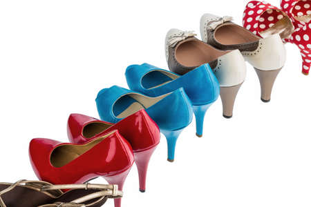heels shoes: shoes with high heels protect against a white background Stock Photo