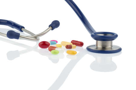 colorful pills and stethoscope Stock Photo - 20772796
